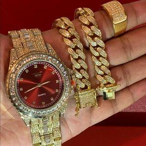 Men's 14K Gold Plated Watch&bracelet&Ring Set